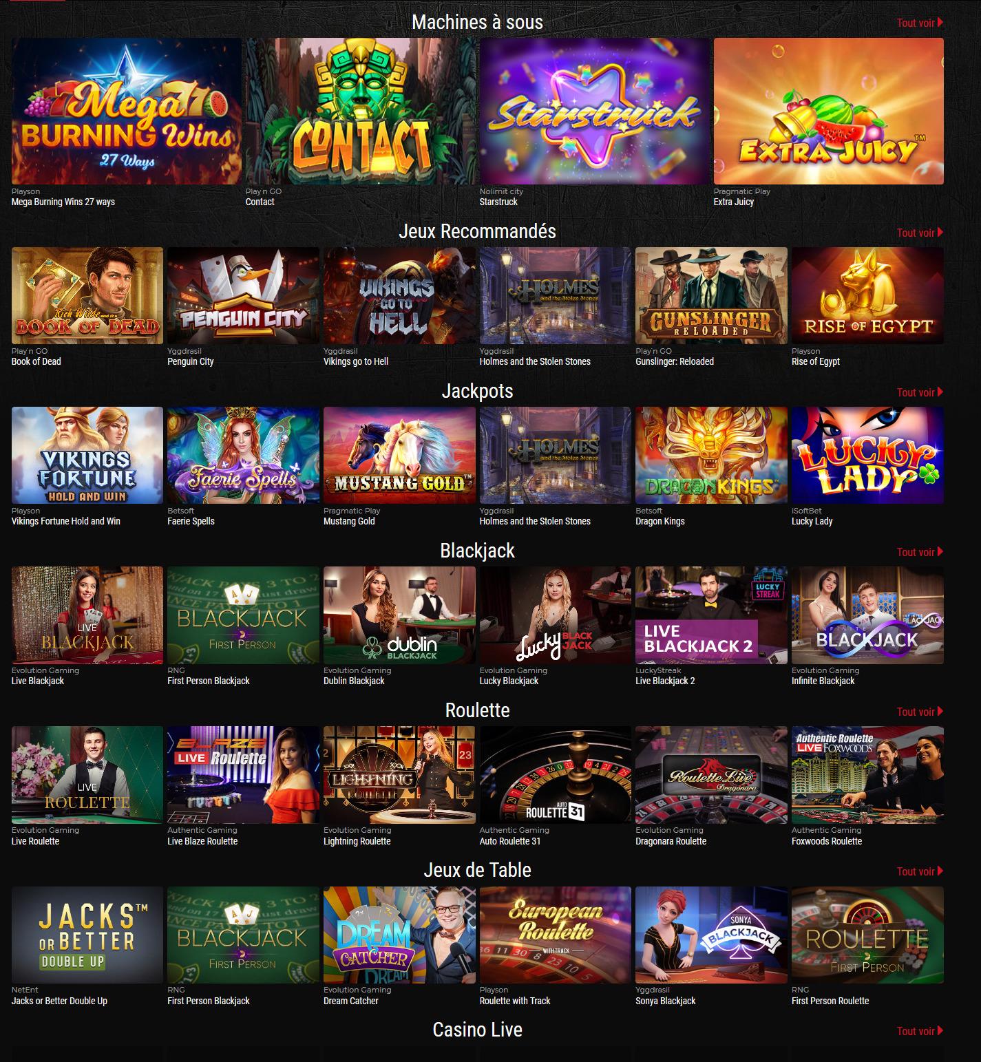 quelques jeux du casino GROS PATRON